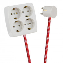 White 4-Way Socket Outlet Red-White Spots