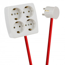 White 4-Way Socket Outlet Red