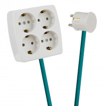 White 4-Way Socket Outlet Turquoise