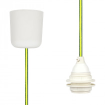 Pendant Lamp Plastic Green-Yellow Netlike
