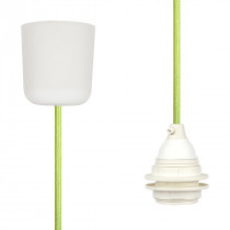 Pendant Lamp Plastic Light Green Netlike