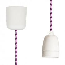 Pendant Lamp Porcelain White-Cerise Zig Zag