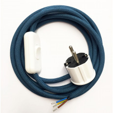 Assembled Supply Cord with Plug and Inline Cord Switch Azure 3 Core
