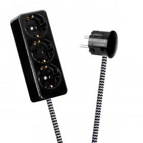 Black 3-Way Socket Outlet Black-White Zig Zag