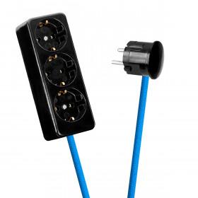 Black 3-Way Socket Outlet Blue-Turquoise