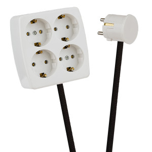 White 4-Way Socket Outlet Black