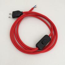 Anschlussleitung mit Stecker und Schnurschalter Rot 2-adrig