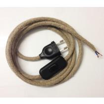 Anschlussleitung mit Stecker und Schnurschalter Leinen 2-adrig 3m