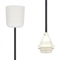 Textilkabel-Hängeleuchte Kunststoff schwarz-weiß gepunktet