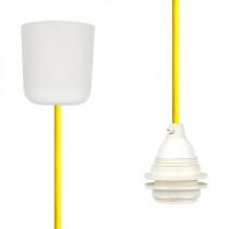 Textilkabel-Hängeleuchte Kunststoff gelb