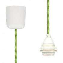 Textilkabel-Hängeleuchte Kunststoff grün-weiß gepunktet