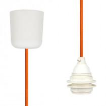 Textilkabel-Hängeleuchte Kunststoff orange