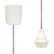 Textilkabel-Hängeleuchte Kunststoff pastelrosa netzartig