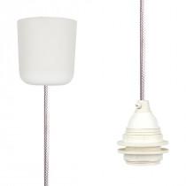 Textilkabel-Hängeleuchte Kunststoff glänzend weiß netzartig