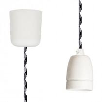 Textilkabel-Hängeleuchte Porzellan schwarz-weiss