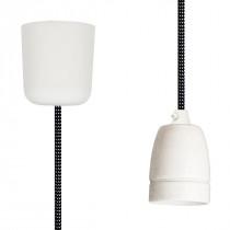 Textilkabel-Hängeleuchte Porzellan schwarz-weiß gepunktet