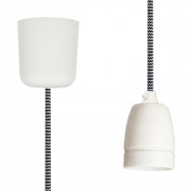 Textilkabel-Hängeleuchte Porzellan schwarz-weiß zick zack
