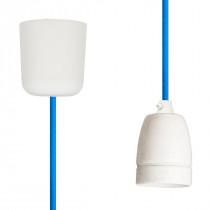 Textilkabel-Hängeleuchte Porzellan blautürkis