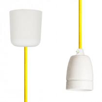 Textilkabel-Hängeleuchte Porzellan gelb