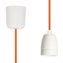 Textilkabel-Hängeleuchte Porzellan orange