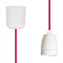 Textilkabel-Hängeleuchte Porzellan pink