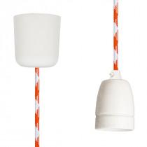Textilkabel-Hängeleuchte Porzellan weiß orange