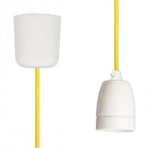 Textilkabel-Hängeleuchte Porzellan gelb netzartig